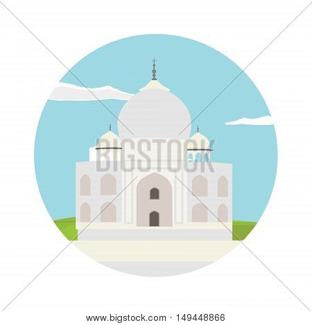 Vector illustration of Taj Mahal an ancient Palace in India round flat icon