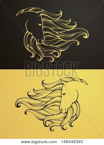 Gold and black horse icon. Linear graphic stylized animal vector illustration. Horse head with mane can be used as design for tattoo, t-shirt, bag, poster, postcard