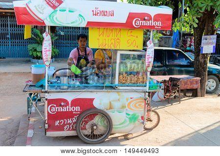 Street Thai Food Vendor On Mobile Stall