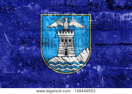 Flag Of Opatija, Croatia, Painted On Dirty Wall