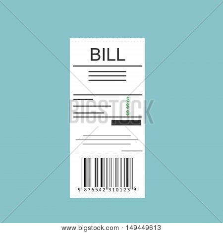Vector illustration paying bills concept. Payment of utility bank restaurant and other bills. Giving or receiving bill.