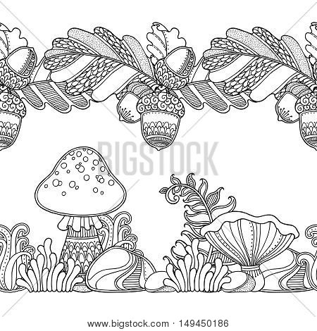 Seamless borders vector set in doodle style. Floral, ornate, decorative, tribal, forest design elements. Black and white background. Grass, mushrooms, oak leaves, acorns. Zentangle coloring book page