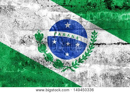 Flag Of Parana State, Brazil, Painted On Dirty Wall