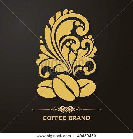 Decorative ornamental coffee beans and floral design elements. Coffee symbol icon gold on black. Logo coffee shop, cafe. Illustration for banner, poster, business sign, identity, branding