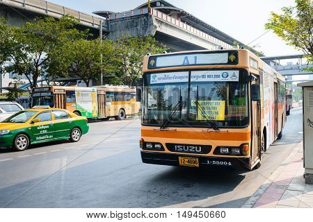 Public Bus From A Bangkok Mrt Station To Don Mueang International Airport.