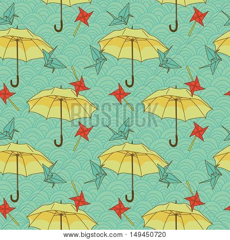 seamless pattern with colorful umbrellas and origami cranes in asian style, vector illustration