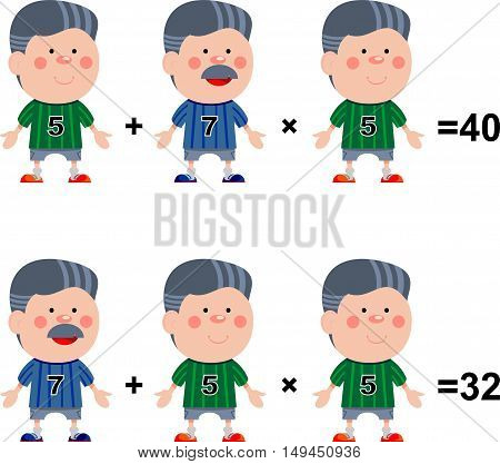 Funny math. Illustration of mathematical rules for multiplication of numbers
