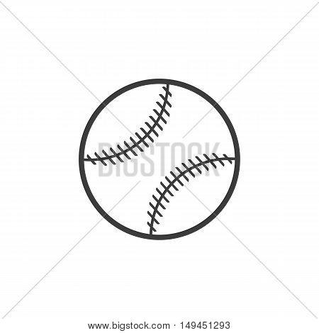 Baseball ball icon. Baseball ball Vector isolated on white background. Flat vector illustration in black. EPS 10