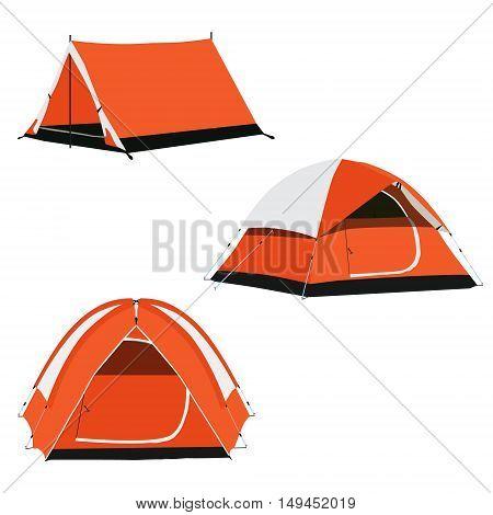 Vector set of three orange camping tents vector illustration. Camping equipment camping gear camping icon