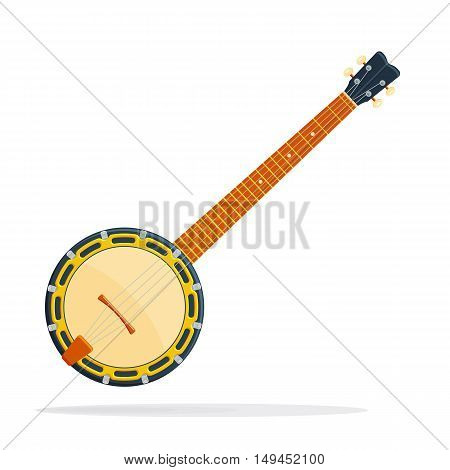 Musical instrument Banjo vector illustration isolated on a white background