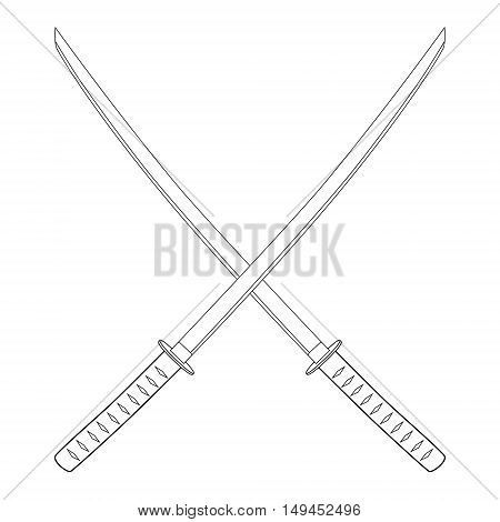 Vector illustration crossed japanese katana swords outline drawing. Samurai sword traditional weapon