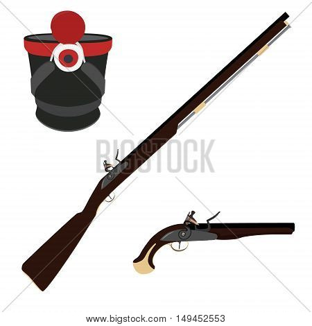 Vector illustration of old fashioned rifles military hat and vintage musket gun. Muskets or flintlock gun. Infantry shako