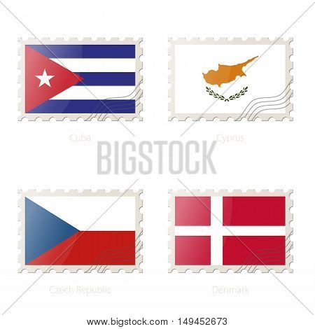Postage Stamp With The Image Of Cuba, Cyprus, Czech Republic, Denmark Flag.