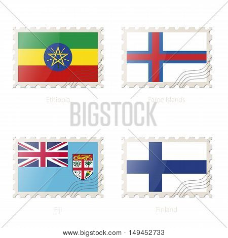 Postage Stamp With The Image Of Ethiopia, Faroe Islands, Fiji, Finland Flag.