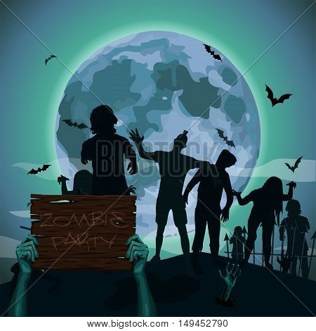 Halloween night moon zombie evil spirits monster freak beast skeleton bat going attack hands holding wooden plank sign text party .Vector square closeup view front illustration poster signboard.