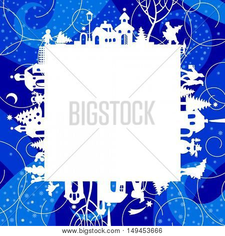 Christmas and New Year's frame and greetings card with silhouette of houses and people on blue snowfall background. Vector illustration