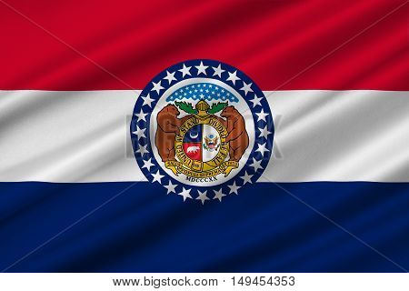 Flag of Missouri is a state located in the Midwestern United States. 3D illustration