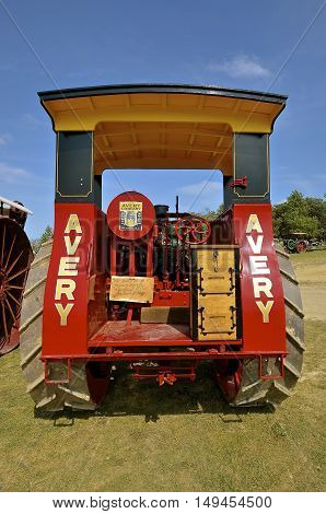 ROLLAG, MINNESOTA, Sept 1. 2016: A restored Avery Company tractor is displayed at the annual WCSTR farm show in Rollag held each Labor Day weekend where 1000's attend.