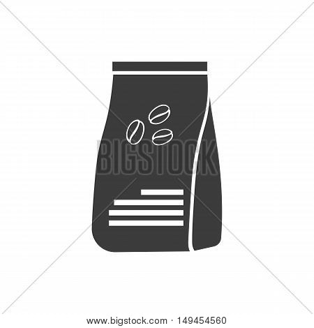Package coffee icon. Package coffee Vector isolated on white background. Flat vector illustration in black. EPS 10