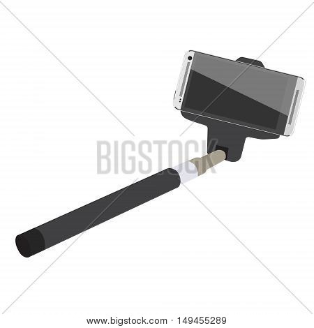 Selfie stick with white mobile smartphone vector. Self portrait device