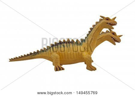 Dragon toy photo. Isolated two-headed dragon toy profile view photo.