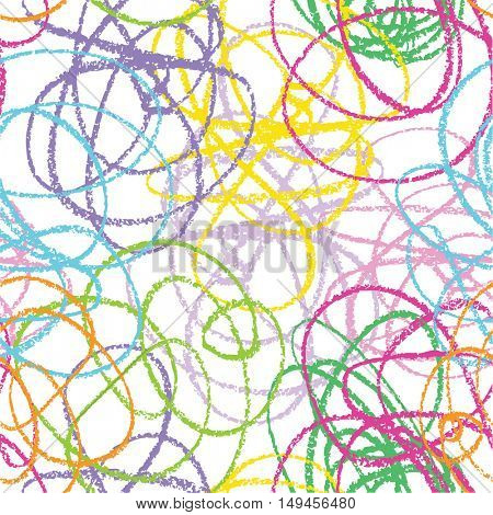 Hand drawn line seamless pattern. Doodle design element.