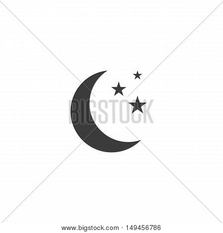 Moon and stars icon. Moon and stars Vector isolated on white background. Flat vector illustration in black. EPS 10