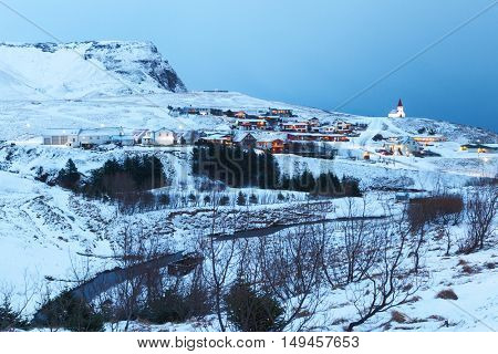 Village of Vik in  twilight, Iceland.
