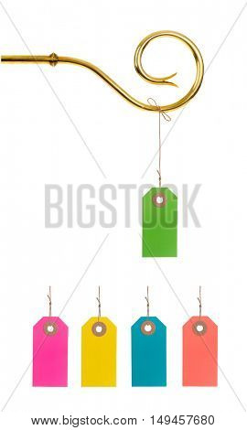 Staff of Sinterklaas with Tag or Label. Isolated on white background.Easy to change Tag or color