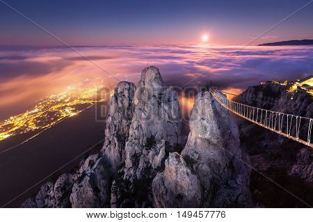 Mountain Landscape With Rising Full Moon At Night