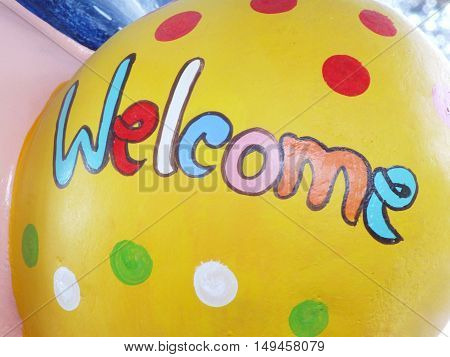 colorful welcome text wording made with hand writing