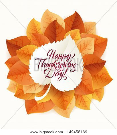 Happy Thanksgiving Day circular ornament made of leaves on white background. Happy Thanksgiving Day Greeting Card Poster. Thanksgiving Day card template. Happy Thanksgiving banner, flyer.
