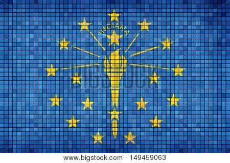 Abstract Mosaic flag of Indiana - illustration,  The flag of the state of Indiana,  Indiana grunge mosaic flag