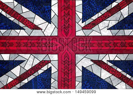 Great Britain flag. England national symbol. Zentangle flag illustration with doodle elements. British theme background. Vector english flag for web design wallpapers and printed products.