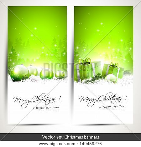 Set of two green vertical Christmas banners with gift boxes and baubles in snow