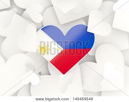 Flag Of Philippines, Heart Shaped Stickers