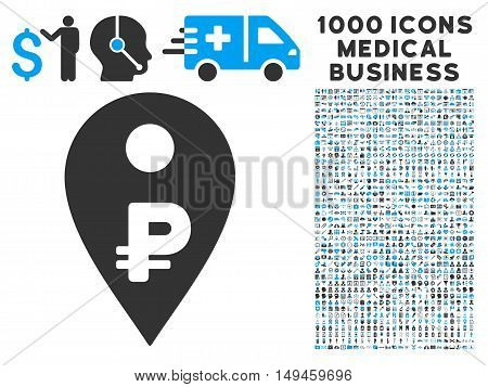 Rouble Map Marker icon with 1000 medical commerce gray and blue vector pictographs. Design style is flat bicolor symbols, white background.
