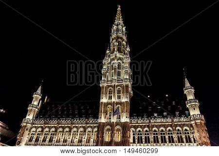The Grand Place is the central square of Brussels. It is surrounded by opulent guildhalls and two larger edifices the city's Town Hall and the Breadhouse