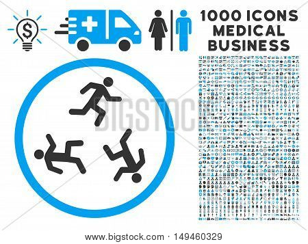 Running Men icon with 1000 medical commerce gray and blue vector design elements. Design style is flat bicolor symbols, white background.