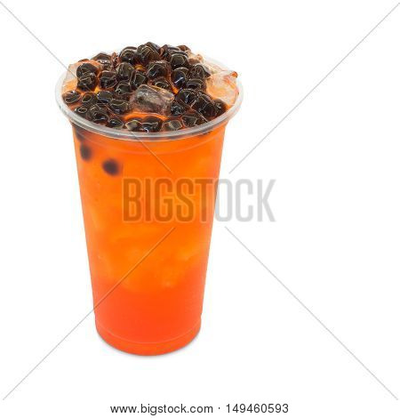 bubble ice tea red plum in takeaway glass isolated on white background with clipping path