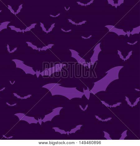 Seamless pattern flock of bats on a Violet background. Illustration for your design for Halloween. Vector EPS10.