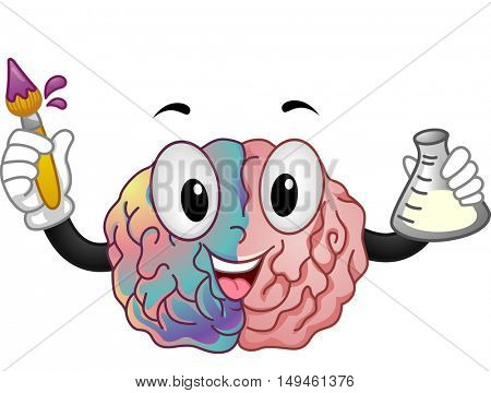 Mascot Illustration of a Brain Representing the Right and Left Hemisphere Holding a Paintbrush in One hand and a  Florence Flask in the Other