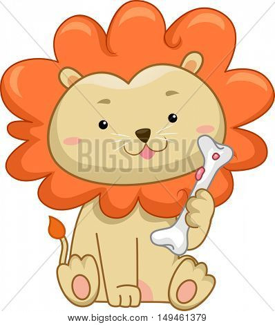 Illustration of a Cute Male Lion with a Thick Mane Happily Holding a Piece of Bone