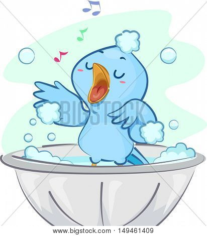 Illustration of a Cute Blue Bird Singing Happily While Taking a Bubble Bath