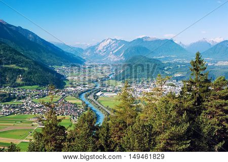 Panoramic bird's eye view of the cities Rietz Telfs Pfaffenhofen and the river Inn in Tyrol Austria (Europe).