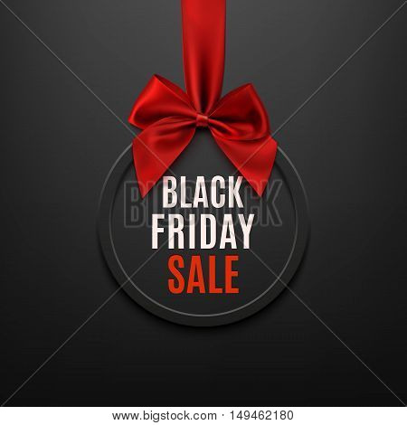 Black Friday round banner with red ribbon and bow, on black background. Brochure or banner template. Vector illustration.