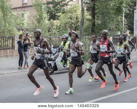 BERLIN GERMANY - SEPTEMBER 25 2016: Leading Group At Berlin Marathon 2016
