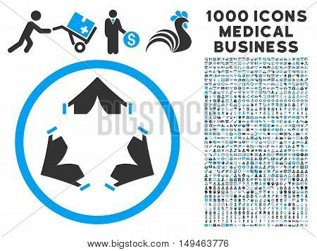 Tent Camp icon with 1000 medical commercial gray and blue vector pictographs. Design style is flat bicolor symbols, white background.