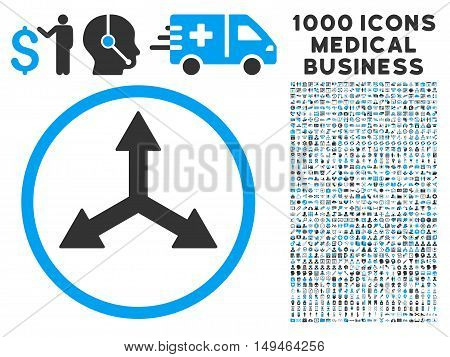 Triple Arrows icon with 1000 medical commerce gray and blue vector pictographs. Set style is flat bicolor symbols, white background.