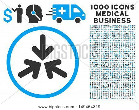 Triple Collide Arrows icon with 1000 medical commerce gray and blue vector pictograms. Set style is flat bicolor symbols, white background.